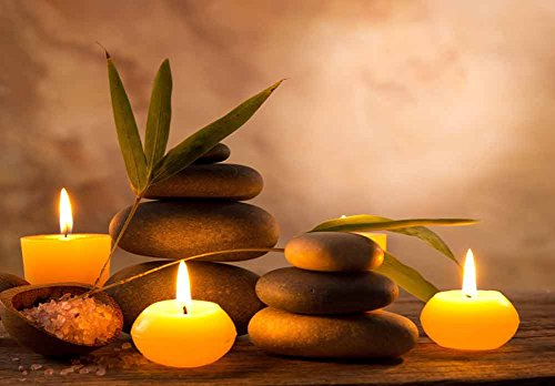Rocks Surrounded by Candles and Branches Giving It a Zen Feel Wall Mural