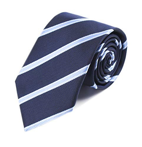 (Mens Stripes College Navy Blue Silk Ties Jacquard Gentlemen Soft Necktie Gifts)