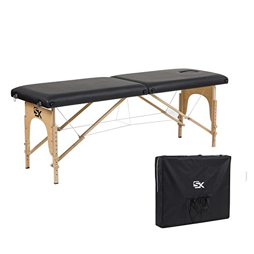 Super Stable Portable 2 Fold Massage Reiki Facial Table Bed (Black, with carrying case) Green Life