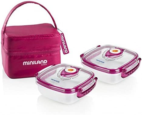 Miniland Pack-2-Go Hermifresh - Herméticos de vacío con funda, color rosa: Amazon.es: Bebé