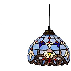 8-inch Tiffany Style Chandelier European Retro Stained Glass Pendant Lamp Baroque Living Room, Bedroom, Kitchen Decoration Ceiling Pendant Lamp E27X1, 110-240V (Bulbs Not Included) Blue