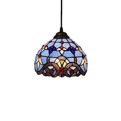 Art Glass Stained Glass Chandelier - 8-inch Tiffany Style Chandelier European Retro Stained Glass Pendant Lamp Baroque Living Room, Bedroom, Kitchen Decoration Ceiling Pendant Lamp E27X1, 110-240V (Bulbs Not Included) Blue