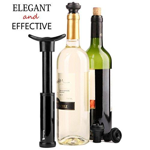 Wine Vacuum Bottle Preserver Saver - for Wine Preservation - Best Wine Sealer Kit - with 3 Vacuum Re-usable Wine Stoppers - Black by RedNoel (Image #1)