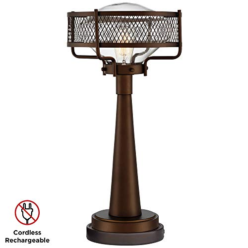 Travis Bronze Industrial Table Lamp with Battery Pack Lamp Base -