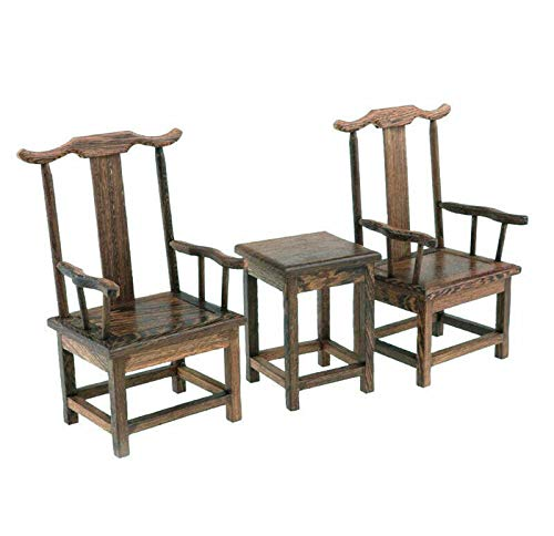 EatingBiting(R) 1:6 Dollhouse Miniature Handcraft Furniture Retro Wood End Table Armchairs 3Pc Home Mini Furniture Model Display Decor Great handcrafts Collections