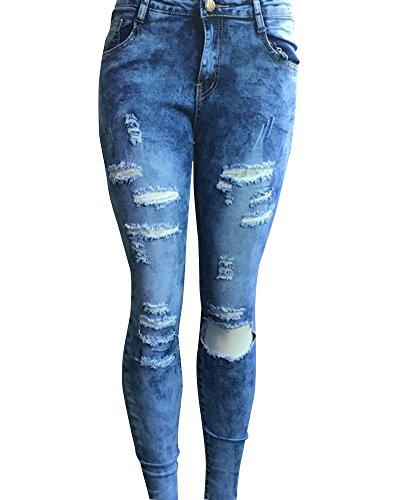 Pantalones Skinny Azul leggins denim Rotos Pantalones Jeans Claro Flacos Vaqueros Mujeres xP0q71wO6