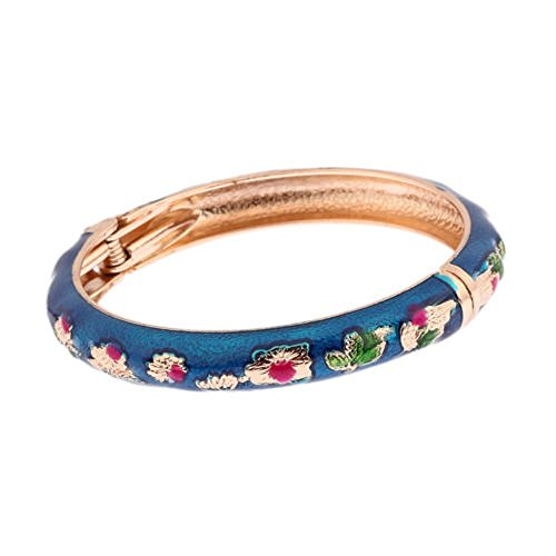 Enamel Vintage Bangles - 5pcs Vintage Gold Flower Enamel Cloisonne Bangle Cuff Bracelet Women Lady Gift Jewelry