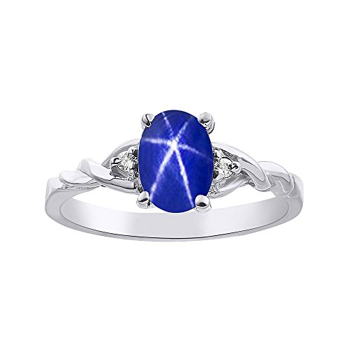 (Diamond & Blue Star Sapphire Ring Set In Sterling Silver Solitaire)
