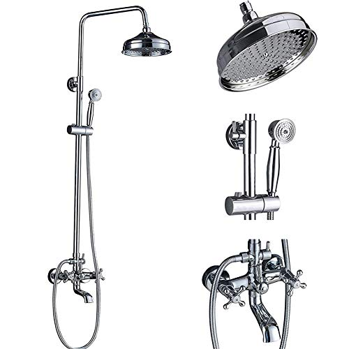 Bath And Shower Mixer - Votamuta Chrome Finish 8-Inch Rainfall Shower Faucet Set Wall Mount Bathtub Shower Mixer Tap with Hand Sprayer (Chrome)