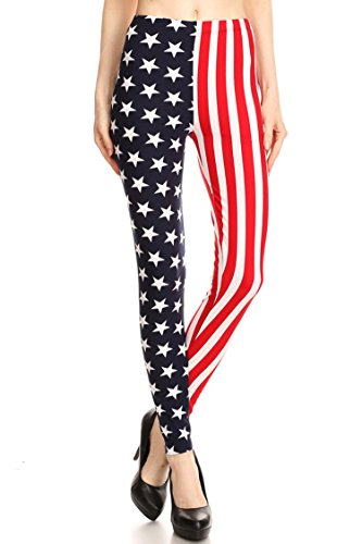 Leggings Mania Women's Plus American Flag High Waist Leggings Red White Blue, Plus One Size Fits Most (12-22), American Flag