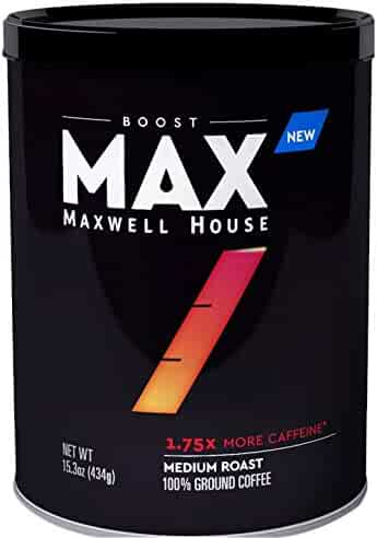 MAX by Maxwell House Boost Roast and Ground Coffee, 1.75x Caffeine, 15.3 Ounce