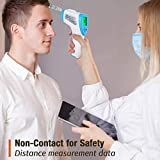 Digital Thermometer High Accuracy Thermometer Fever Non-Contact Infrared Thermometer Forehead Ear Thermometer Fever Alarm Memory HD LED Screen Ideal for Baby Infant Adult School Office Use CE Blue