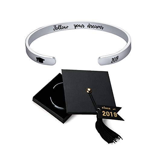 Jdesign Womens Grad Cap 2019 Bangle Cuff Bracelet Bangle Engraved Mantra Quote Follow Your Dreams Inspirational Gifts Graduation Gifts Bracelet for Women]()