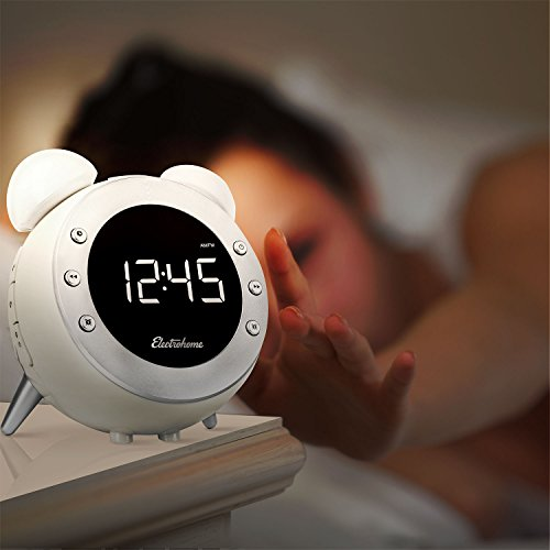Electrohome CR35W Retro Alarm Clock Radio with Motion Activated Night Light and Snooze, White