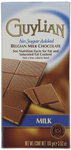 Guylian Milk Chocolate No-Sugar Added Bar, 3.5-Ounce Boxes (Pack of 6)