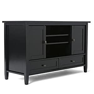 "Simpli Home Warm Shaker Solid Wood TV Media Stand for TVs up to 52"", Black"