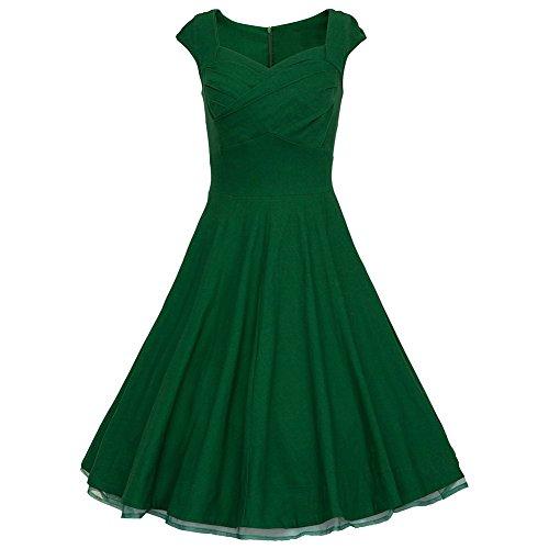 WintCO Vestidos Plisados de Estilo de Audrey Hepburn 50s Rockabilly Vestidos de Lunares con Escote Cuadrado para Noche Vestidos de Estilo Vintage con Vuelo Verde Oscuro
