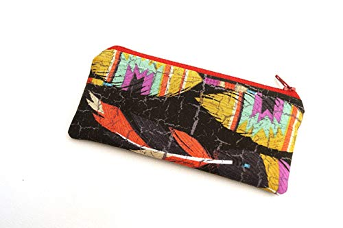 Boho Style Padded Glasses Case or Small Cosmetic Pouch in Colorful Feathers
