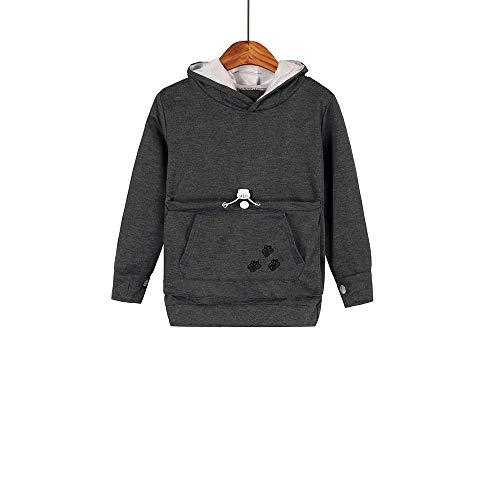 Boys Girls Kangaroo Pouch Hoodies,Pet Cat Dog Holder Carrier Sweatshirt Long Sleeve Pullover (Dark Grey, Size150/(12-13Y))