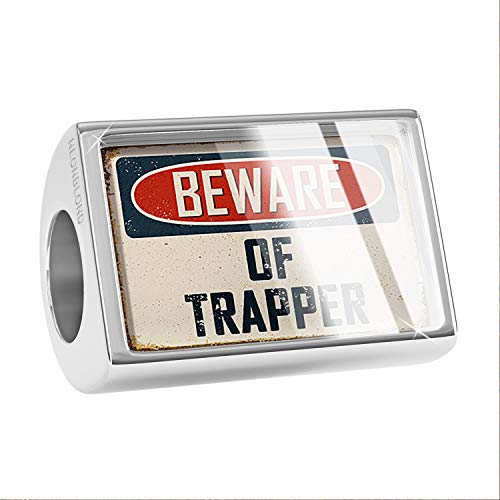 NEONBLOND Charm Beware of Trapper Vintage Funny Sign Bead (Trapper Signs)
