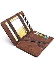 CAVANA Magic Wallet - Geprüfter RFID/NFC Schutz - Schlanke Geldbörse mit Münzfach - Geschenk für Damen und Herren mit Geschenkbox - Erhältlich in 3 Farben | Braun