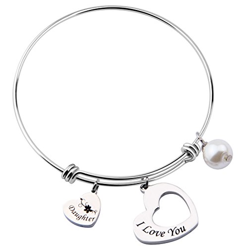 MAOFAED Mother`s day gifts Mather daughter Charm Bracelet,Expandable Bangle Bracelet, Charm Bracelet (I love you Daughter)