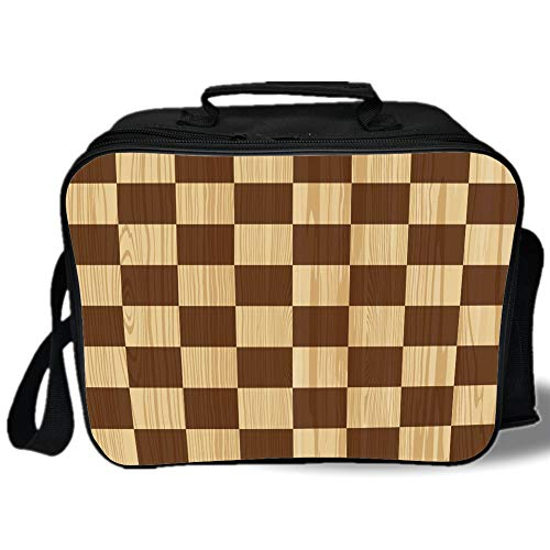 - Checkered 3D Print Insulated Lunch Bag,Empty Checkerboard Wooden Seem Mosaic Texture Image Chess Game Hobby Theme,for Work/School/Picnic,Brown Light Brown
