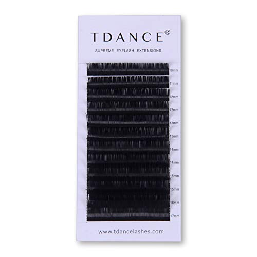 TDANCE Premium CC Curl 0.05mm Thickness Semi Permanent Individual Eyelash Extensions Silk Volume Lashes Professional Salon Use Mixed 10-17mm Length In One Tray (CC-0.05,10-17mm)