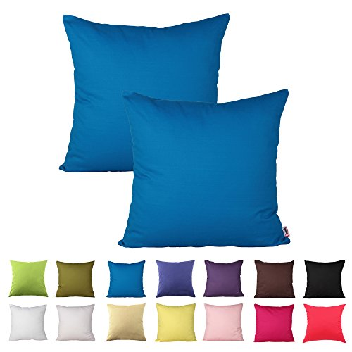 Queenie - 2 Pcs Solid Color Cotton Decorative Pillowcase Cushion Cover for Sofa Throw Pillow Case Available in 14 Colors & 5 Sizes (18 X 18 Inch (45 X 45 Cm), Blue)