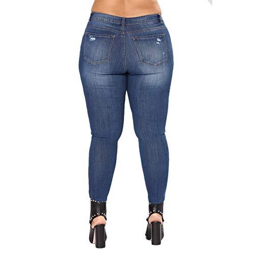 Xxl Grande Pantalones Estiramiento Jeans De Toogoo Talla Cintura Media Azul Lavados Mujer Para Moda Pies Real Orificio Rasgado Mezclilla Lago Casual Lápiz wIqqZ0RF