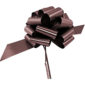 """Large Brown Decorative Pull Bows - 9"""" Wide, Set of 6, Party Decor Ribbons, Fall and Christmas Decorations, Thanksgiving"""