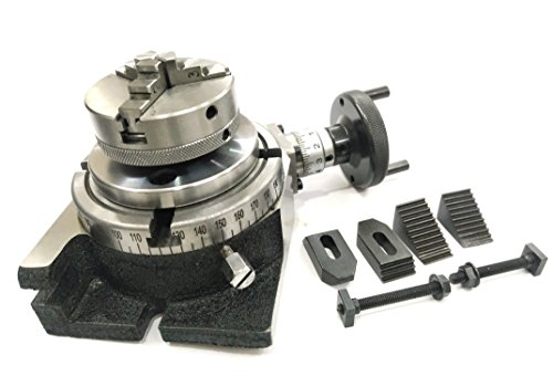 MILLING INDEXING 4″/ 100 ROTARY TABLE QUALITY PRECISION HORIZONTAL VERTICAL WITH SUITABLE M6 CLAMP KIT & SMALL CHUCK (WITH 65 MM 3 JAWS SELF CENTERING CHUCK)