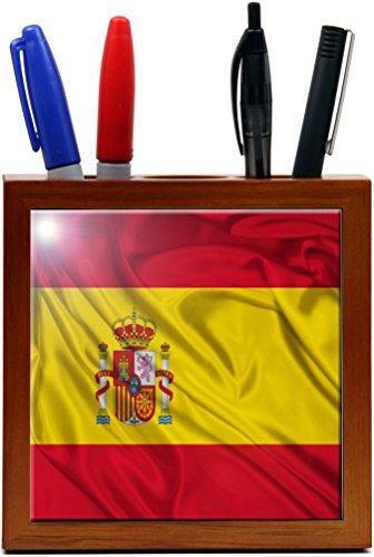 Rikki Knight 5-Inch Spain Flag Design Wooden Tile Pen Holder (RK-PH1686) by Rikki Knight