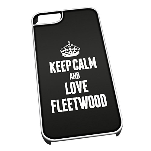 Bianco cover per iPhone 5/5S 0263 nero Keep Calm and Love Fleetwood