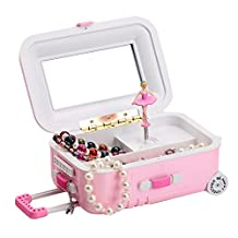 Qiyun Draw-Bar Suitcase Music Box Girl's Musical Jewelry Storage Box With Spinning Dancing Little Cartoon Girl Birthday Present Random Color