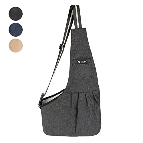 TAIL UP Pet Carrier Sling, Shoulder Bag with Adjustable Slide Strap for Small & Medium Dogs, Cats or Rabbits, Hands-Free Outdoor Pet Carrier, Puppy Carrier Tragvel Bag (M, BLACK)