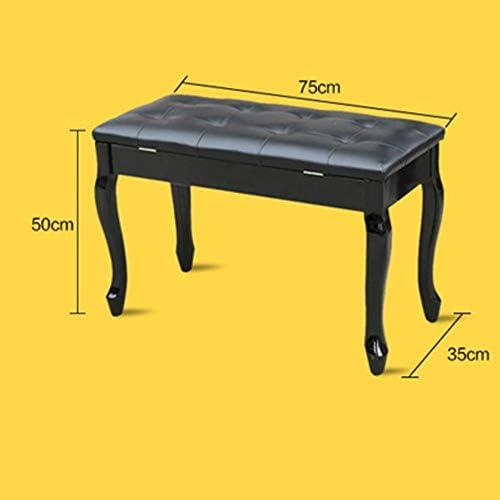 デラックスコンフォート ユニバーサルピアノスツール曲線の脚を持つストレージ本棚木製ベンチエレクトリックピアノの椅子2人 パッド入りピアノベンチスツール (色 : 褐色, サイズ : 75x35x50cm)