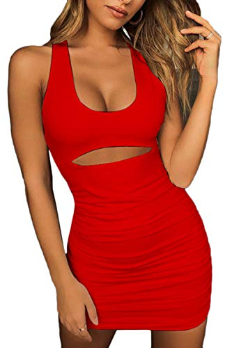 ioiom Women Sleeveless Bodycon Pencil Dress Club Party Mini Dress Red M