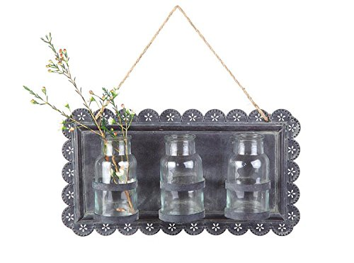 Tin Wall Plaque W/ 3 Glass Vases Bottles Flower Holders Punched Scalloped Frame Country Home D
