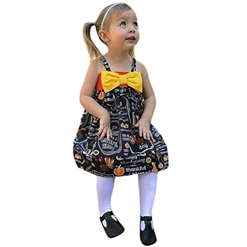 Baby Girls Clothes, VEKDONE Infant Toddler Baby Girls Pumpkin Bow Party Dress Halloween Clothes Dresses (Black, Size:4T)
