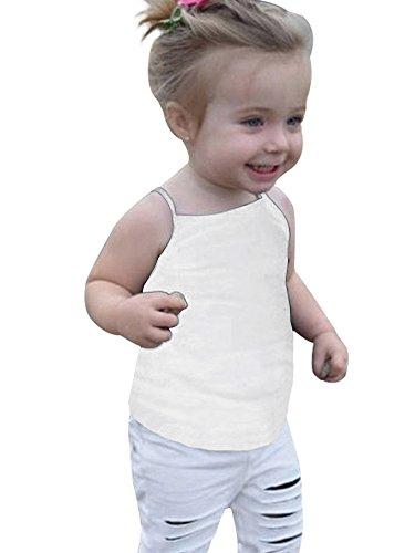 Doubleal Baby Girl Toddler Girls Kids Camisole Tank Top Undershirts Solid Soft Cotton (Girls Spaghetti Strap Shirt)