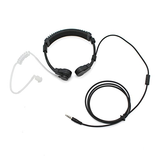 GoodQbuy 3.5mm Outdoor Sports Wired Throat Vocal Viberate Mic Microphone Anti-noise Tactical Neckband Vocal Hands-free In-ear Acoustic Tube Earpiece Headphones for Cellphone Pc GPS Computers