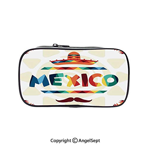 (Pen Case Office College School Large Storage,Mexico Traditional Aztec Motifs and Sombrero Straw Hat Moustache Graphic Multi 5.1inches,Box Organizer New Arrival)