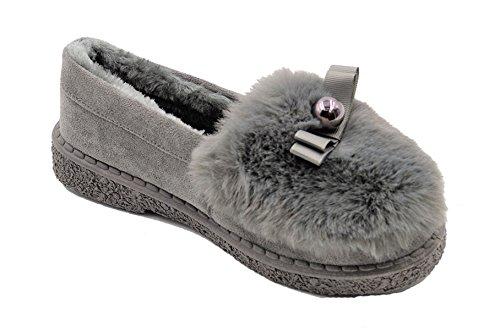 Golden Veien Faux Fur Foret Semsket Varme Sko For Kvinner # 8105 Grå