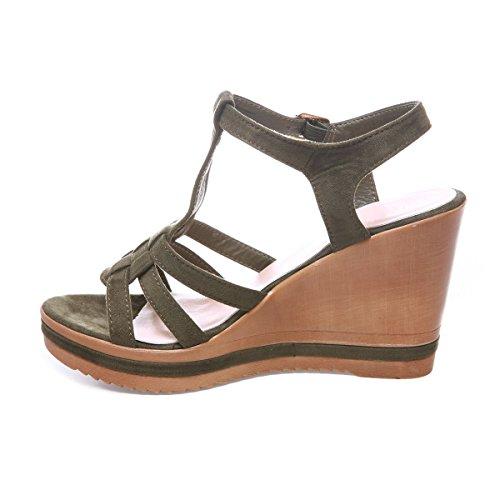 La Modeuse - Sandalias de vestir para mujer caqui