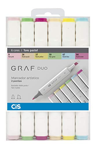 Marcador Artístico 2 Pontas, CiS, Graf Duo, 59.7600, 6 Cores, Tons Pastel