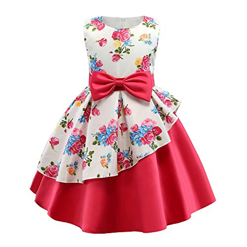 AIMJCHLD A Line Sleeveless Round Neck Flower Girl Dresses Summer Wedding Party Dress Pageant Prom Gowns Christmas Easter Halloween Birthday Holiday Dresses Size 5T 6T (Rose Red 130) -