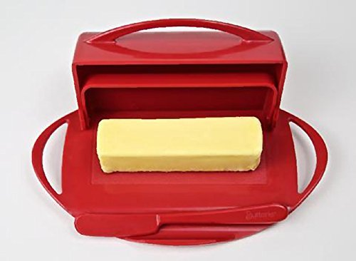 Butterie Flip Top Butter Dish For Countertop or Refrigerator, BPA Free, Red
