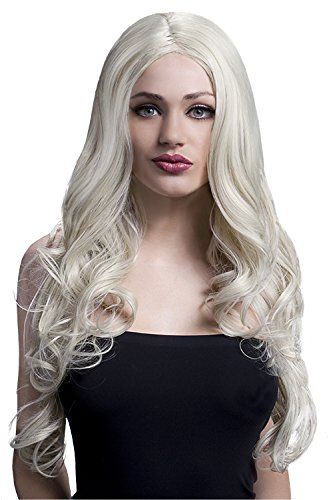 Fever Women's Long Blonde Wig with Soft Curls and Centre Part, 26inch, One Size, Rhianne,  5020570425107]()