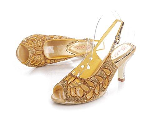 Surprising Rhinestone gold Stiletto Toe Bride Show Bridesmaid Party Sparkle CRC Wedding Evening Suede Sandals Peep Womens TpxXU1t